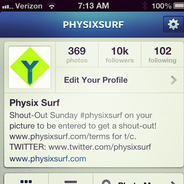Shout-out to all of our followers!! We broke 10k! #physixsurf